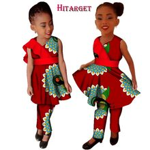 New Girls Plus Size African Clothing Dresses Vestidos Dashiki African bazin riche Wax Print Splice Dresses and Pants Sets WYT124 bazin riche men 2 pieces pants sets african clothes casual men jacquard pattern patchwork top shirt and pants sets wyn767
