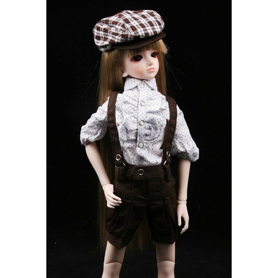 [wamami] 290# Brown Suit/Clothes For 1/4 MSD DOD AOD LUTS BJD Dollfie leisure sweater strap shorts white shirt 3 pcs cute suit for bjd 1 6 yosd luts dod as doll clothes cm84