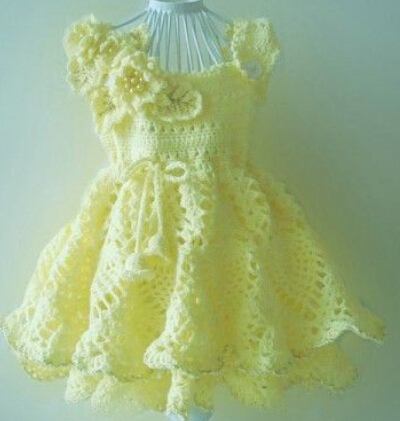 Free Shipping Girl Flower Dresses Handmade Crochet Dress Baby Party