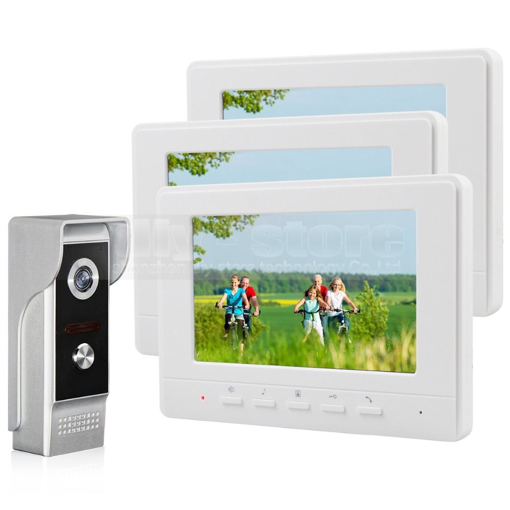 DIYSECUR 7inch Video Intercom Video Door Phone 700TV Line IR Night Vision Outdoor Camera For Home / Office Security System 1V3
