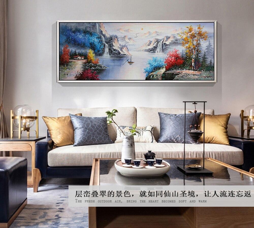 Chinesische landschaft original handgemalte hochwertige moderne landschaft malerei winter see landschaft malerei für die lobby sofa - 5