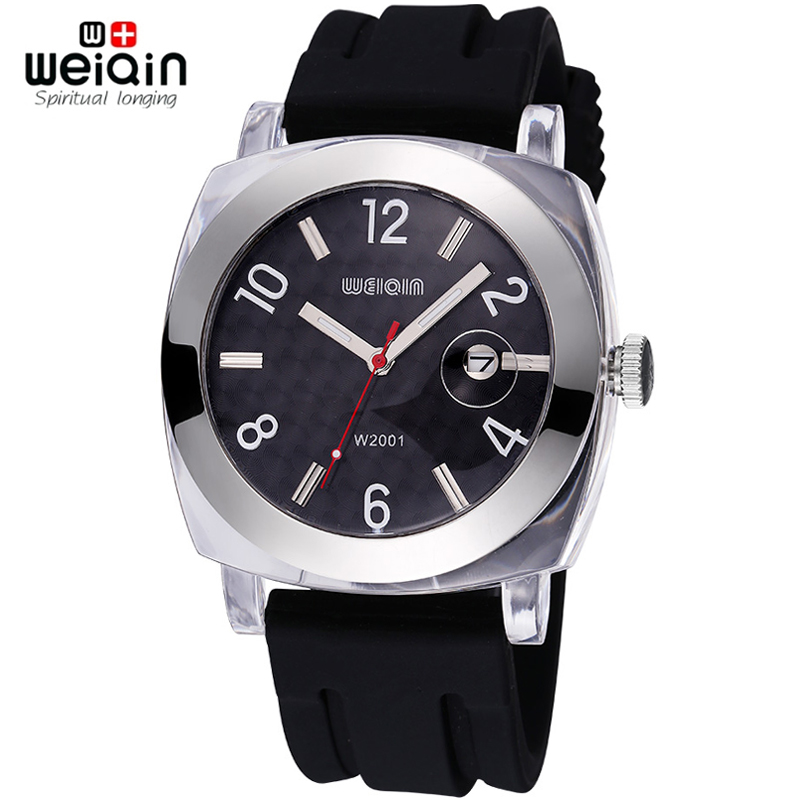 WEIQIN Date Plastic Silver Alloy Soft Silicone Strap Casual Sports Watches Men Women Shock Water Resistant Brand Fashion Watch new electronic willis women mini water resistant sports brand watch casual watches fashion for children watch relogios feminino