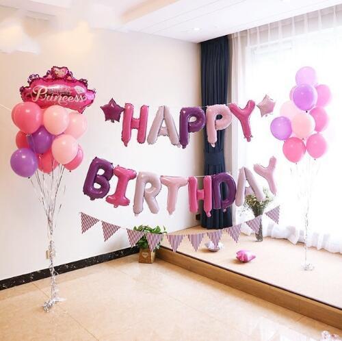 16 дюймов розового золота с днем рождения письма шар Детские День рождения украшения Фольга надувные шары Globos Baloes Воздушный баллон