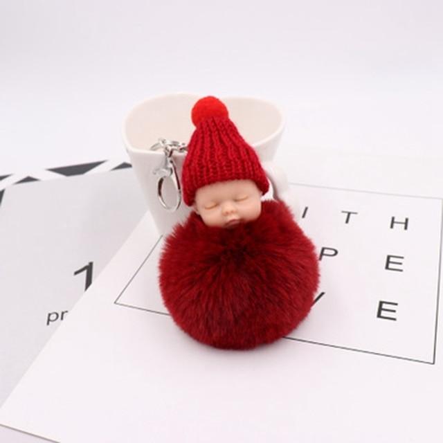 Modo novo Estilo Bonito Do Bebê Boneca Fluffy Pele Pompom Keychain Artificial Bola Coelho Coelhinho Da Corrente Chave Anel Chave Bola de Pêlo Pompom presentes
