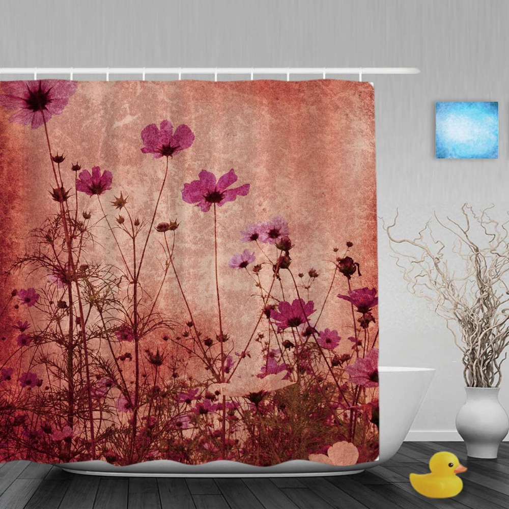 Ink Painting Poppy Flowers Bathroom Shower Curtains Beautiful Nature Scene Shower Curtain Waterproof Polyester Fabric With Hooks