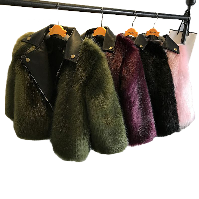 2018 Baby Girls Faux Fox Fur Patchwork Faux Leather Motorcycle Jackets Winter Warm Macaron Kids Outerwear Coats Children Outwear 2017 fashion teenager motorcycle coats boys leather jackets patchwork children outerwear letter printed boy faux leather jacket