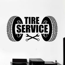 Vinyl Wall Decal Car Tire Service Logo Wall Sticker Car Repair Garage Wall Art Mural Decoration Car Service Wallpaper AY922 цена
