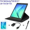 360 graus de giro stand capa de couro inteligente para samsung galaxy tab s2 9.7 t810 t815 tablet case + free screen protector + otg + caneta