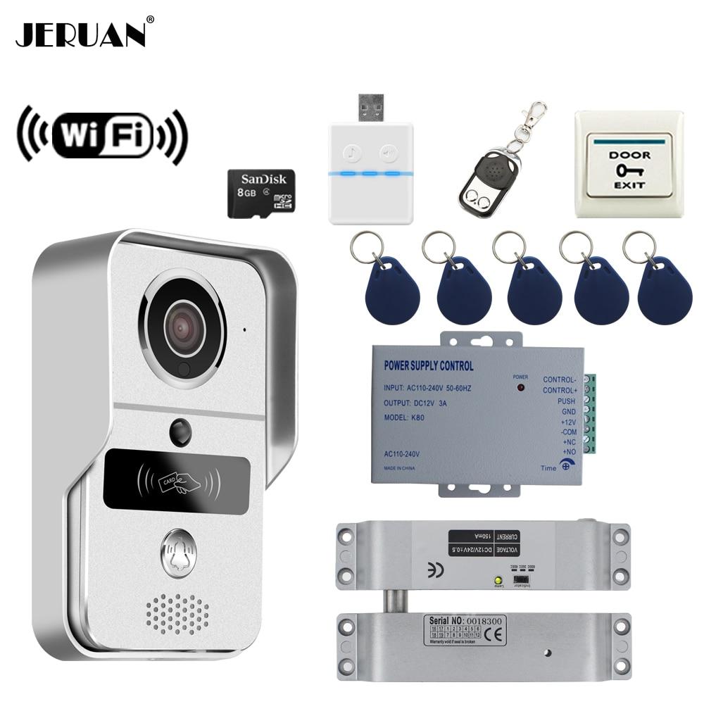 JERUAN 720P WiFi Video Door phone Intercom Wireless Record Doorbell For Smartphone Remote View Unlock Electric Drop Bolt lock