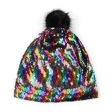 FOXMOTHER, сделай сам, новая зимняя мода, хип-хоп, металлические блестки, Skullies, шапки бини, шапки Gorro с меховым помпоном, Slouch, шапки для женщин
