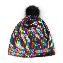 FOXMOTHER DIY New Winter Fashion Hip Hop  Metallic Sequin Skullies Caps Beanies Hats Gorro With Fur Pom Pom Slouch Hats Women шапка носок quiksilver cushy slouch m hats bear