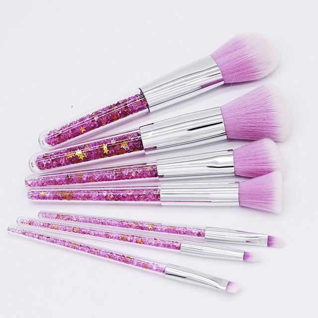 Beauty 7pcs Shinny Pink Purple Diamond Unicorn Makeup Brushes Set Foundation Blending Face Eyeshadow Brush maquillaje With Bag