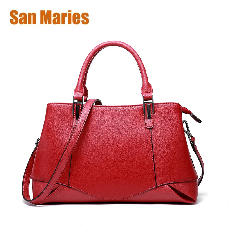 San Maries New Arrival Fashion Soft Real Genuine Leather Women's Handbags Ladies Shoulder Bags Tote Messenger Bag Purse Satchel menschen a2 testtrainer mit cd