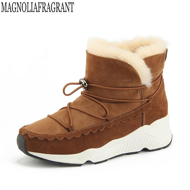 New 100% Real Fur Classic Mujer Botas Waterproof Genuine Cowhide Leather Snow Boots Winter Shoes for Women Casual winter boots k nemaone 2017 genuine leather snow boots winter shoes for women new arrival 100% real fur classic mujer botas waterproof