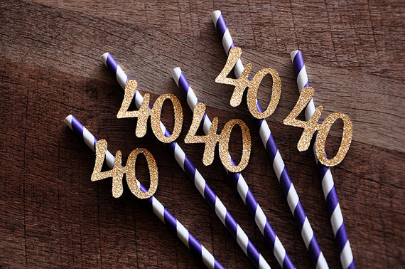 40th Birthday Decoration Straws Purple With Gold 40 Party Anniversary Decor 20th 25th 30th 35th In Disposable Tableware