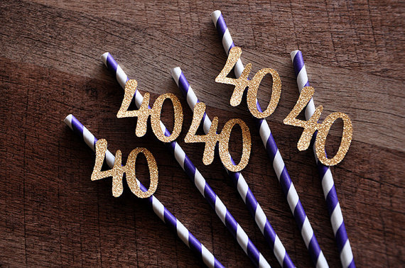 40th Birthday Decoration Straws Purple With Gold 40 Party Anniversary