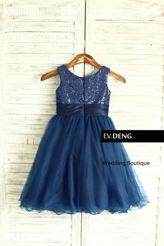 Настоящее цельнокроеное платье без рукавов с блестками для девочек на свадьбу; коллекция года; vestido de noiva; платье для выпускного вечера; Лидер продаж; - Цвет: Синий
