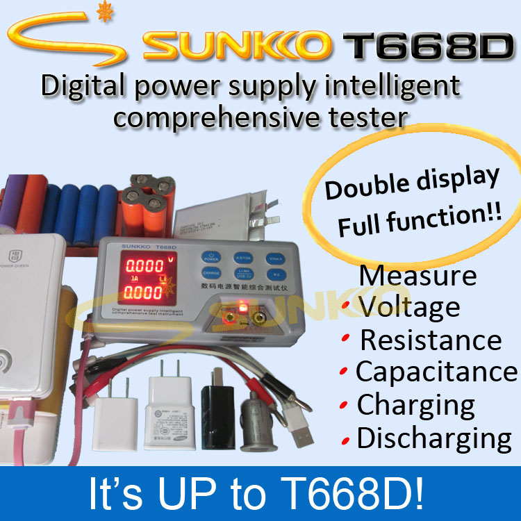 SUNKKO 668D Capacitance, resistance, test line tester, Mobile power tester battery capacity tester resistance testing mobile power lithium lead acid battery can be 18650 serial line 20w