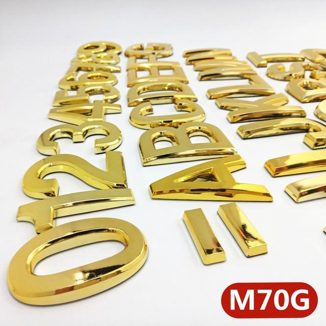 70mm 0123456789ABCD-Z Wonzeal Modern Golden Plaque Number House Hotel Door Address Digits Sticker Plate Sign ABS plastic