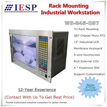 """7U Rack Mount Industrial Workstation, 15"""" LCD, Q87 Chipset, rich I/Os, industrial motherboard, 1 x PCIe 16X, 1 x PCIe 4X, 2xPCI"""