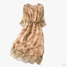 new arrival 100 silk female dress pure silk Small floral print dress pure silk silk multicolor