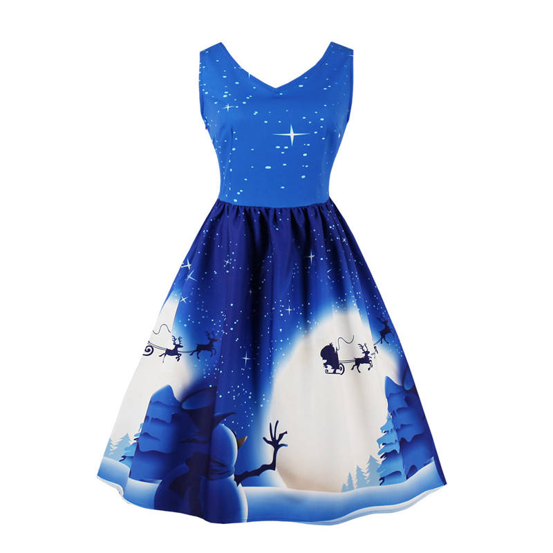 Christmas Snowman Print V-neck Sleeveless Dress Womens 2018 Summer Vintage 50s Rockabilly Evening Party Dress Plus Size Sundress