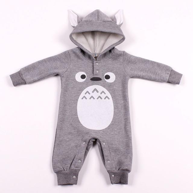 Otoño E Invierno Del Bebé Del Mameluco de Moda Nuevos Niños Añadir Gruesa Ropa de Vestir Con Diseño Totoro Niños de Una Pieza de Los Mamelucos HB079