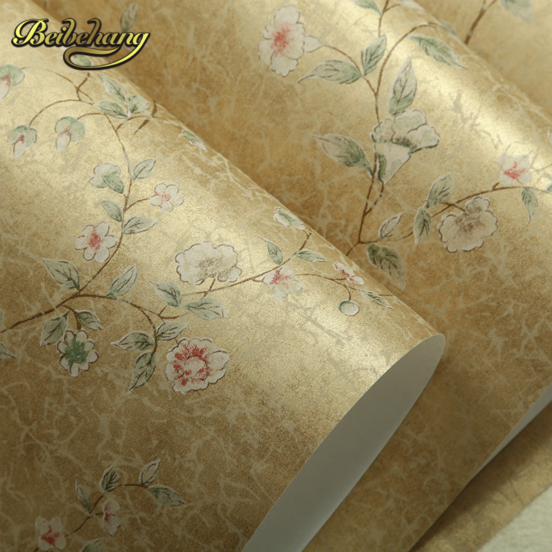 beibehang Puna American country garden flowers vintage wallpaper warm bedroom living room backdrop environmental non-woven beibehang Puna American country garden flowers vintage wallpaper warm bedroom living room backdrop environmental non-woven