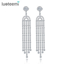 LUOTEEMI 2016 Luxury  White Gold Plated Long Tassel Design Dangle Earrings For Women Bridal Wedding Jewelry Brincos Bijoux