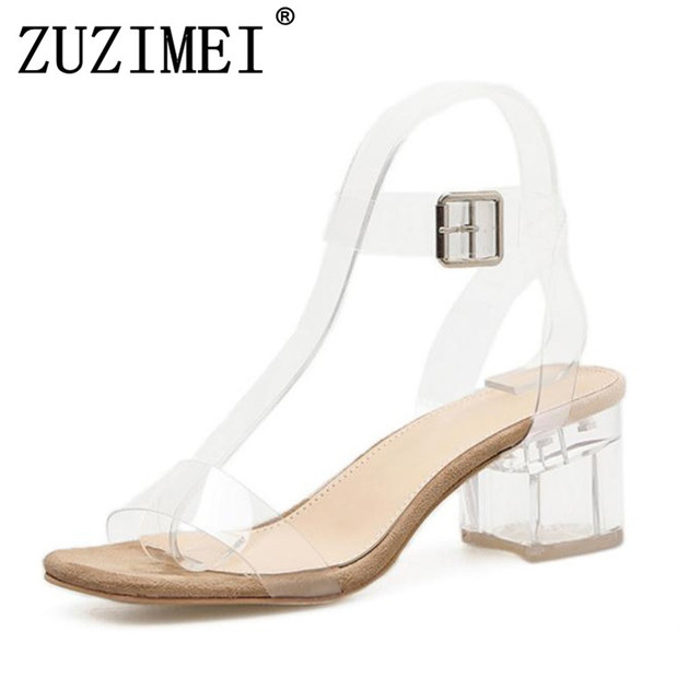 e39f47d13 PVC Transparent Heels Women s Summer Shoes Sexy Transparent Gladiator  Sandals Fashion Clear Heels For Women Shoes Jelly