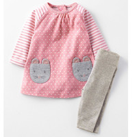 2 7T Baby Girls Sets 2pcs Cute Animal Cartoon 2017 Spring Autumn Clothes Suit Dress Pants