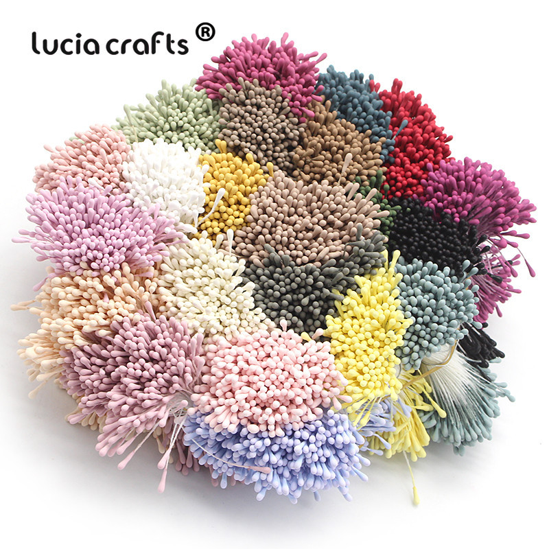 Lucia crafts 1mm Multi options Artificial Flowers Stamen Handmade  For Wedding Party Home Decoration DIY Accessories D0401(China)