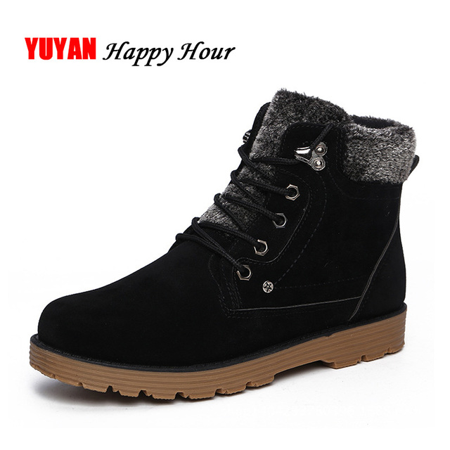 2019 Winter Shoes Men Snow Boots Thick Hard Outsole Warm Plush Men's Ankle Boots Black Blue A192