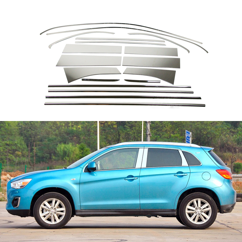 New Stainless Steel Car Styling Full Window Trim Decoration Strips For Mitsubishi ASX 2013 2014 2015 Accessories 12 high quality stainless steel strips car window trim decoration accessories car styling for 2009 2014 kia sorento 12 piece