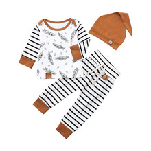 New Spring Autumn Newborn Baby Boy Girl Feather T shirt Tops Striped Pants Clothes Outfits Set Keep warm Fashion Dropship