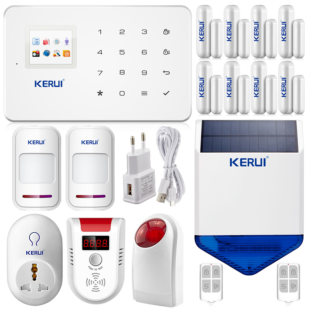 KERUI Wireless GSM SMS Call Home security Alarm System phone Android IOS App Smart plug LPG detector outdoor solar flash siren