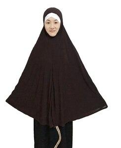 Image 5 - قبعة مسلمة طويلة عصرية للحجاب قطعة واحدة سادة كبيرة الحجم حوالي 130 سنتيمتر من الخلف