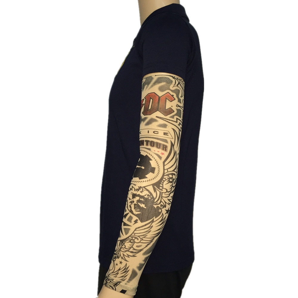 Acdc band nylon fake tattoo arm warmers oversleeve for Sunscreen new tattoo