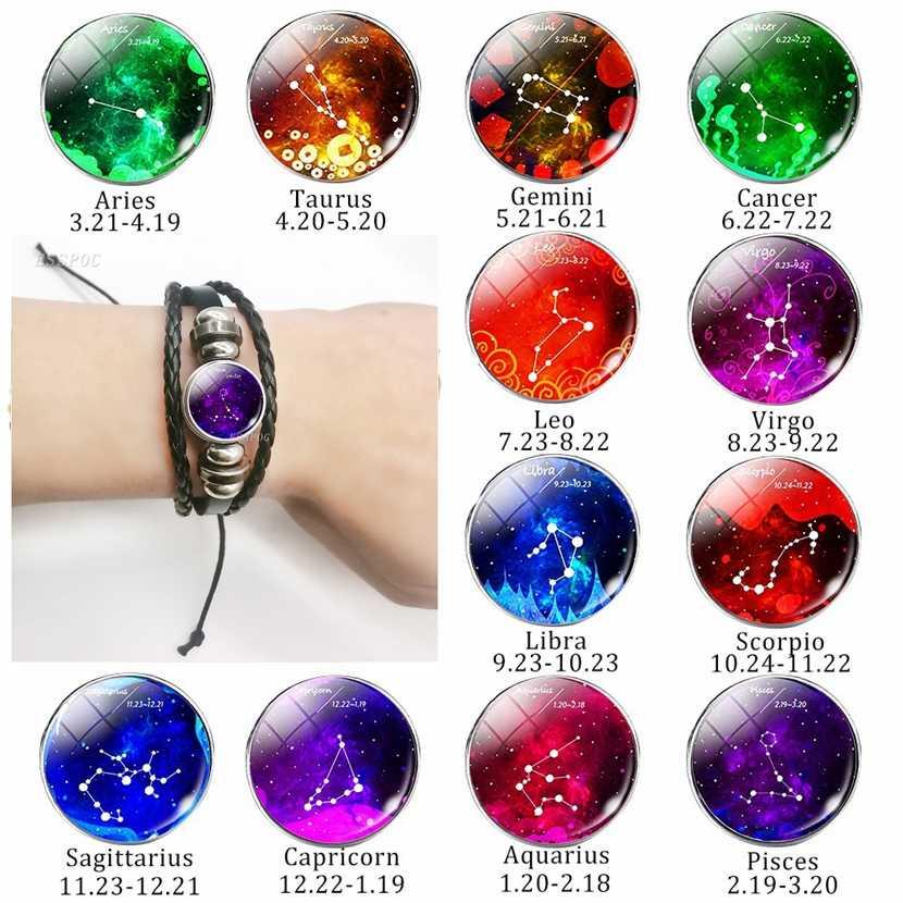 12 Constellation Zodiac Sign Black Braided Leather Bracelet Gemini Cancer Leo Virgo Libra Woven Glass Dome