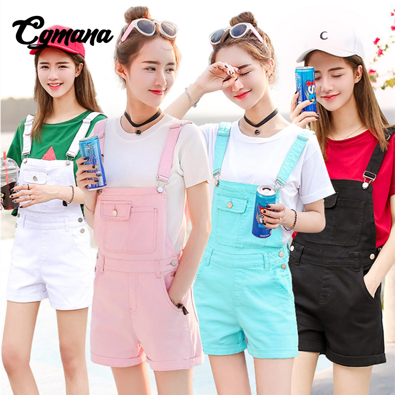 CGmana 2018 New Summer Candy-colored Braces Denim Shorts College Style Jumpsuit Female Summer Cute Loose Rompers Casual Leotard