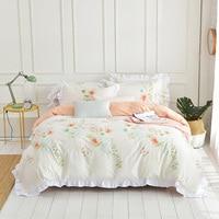 2018 ropa de cama de verano 4 unids/set juego de edredón juego de cama Pastoral para niños/ropa de cama para adultos tamaño queen king grey cama