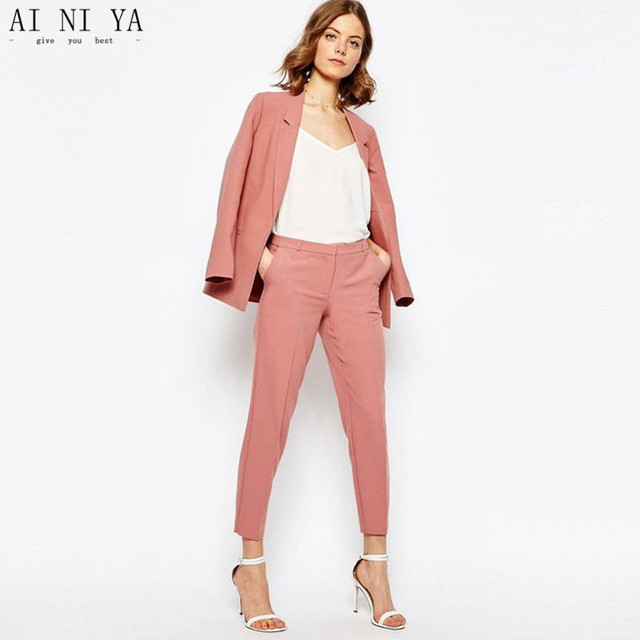 af8515c05ef0 Cameo Brown Womens Business Formal Evening 2 Piece Pant Suits Blazer Female  Office Uniform One Button Ladies Trouser Suits