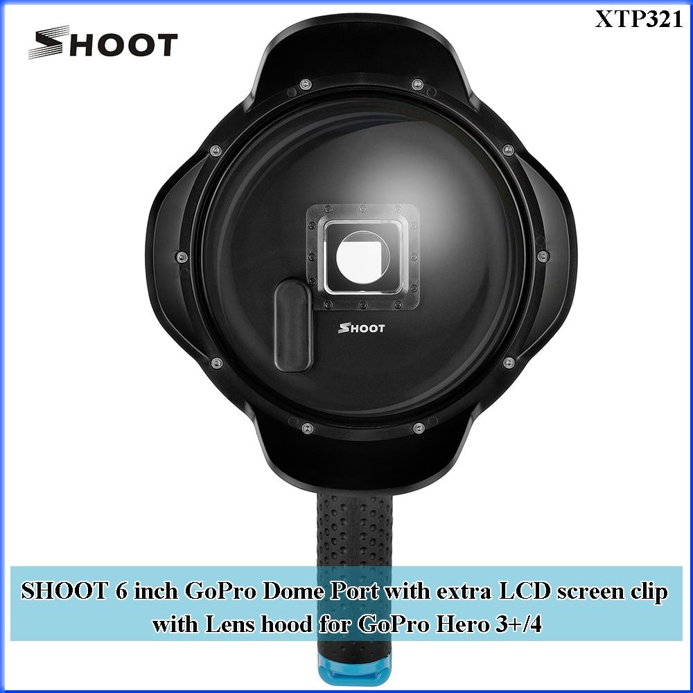TIRER 6 pouce GoPro Dôme Port XTGP321 avec extra LCD écran clip avec Lens hood pour GoPro Hero 3 + /4 2.5 Ombrage Lens Cover