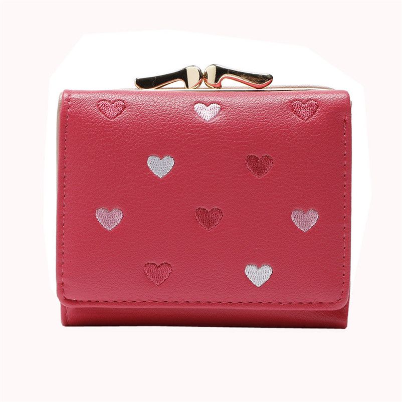 Solid Color Heart Clutch Wallet Women Multi Function Change Purses Large Capacity Cute Card Hold Short Purses Carteira Feminina