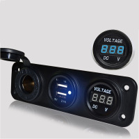 3 Color Motorcycle USB Cigarette Lighter Dual Usb Car 12V 24V Usb LED Lights Digital Voltmeter