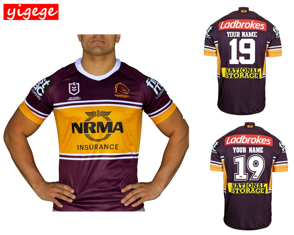 d1dbfd12b3a Custom names and numbers 2019 Brisbane Broncos home rugby Jerseys NRL  National Rugby League shirt nrl