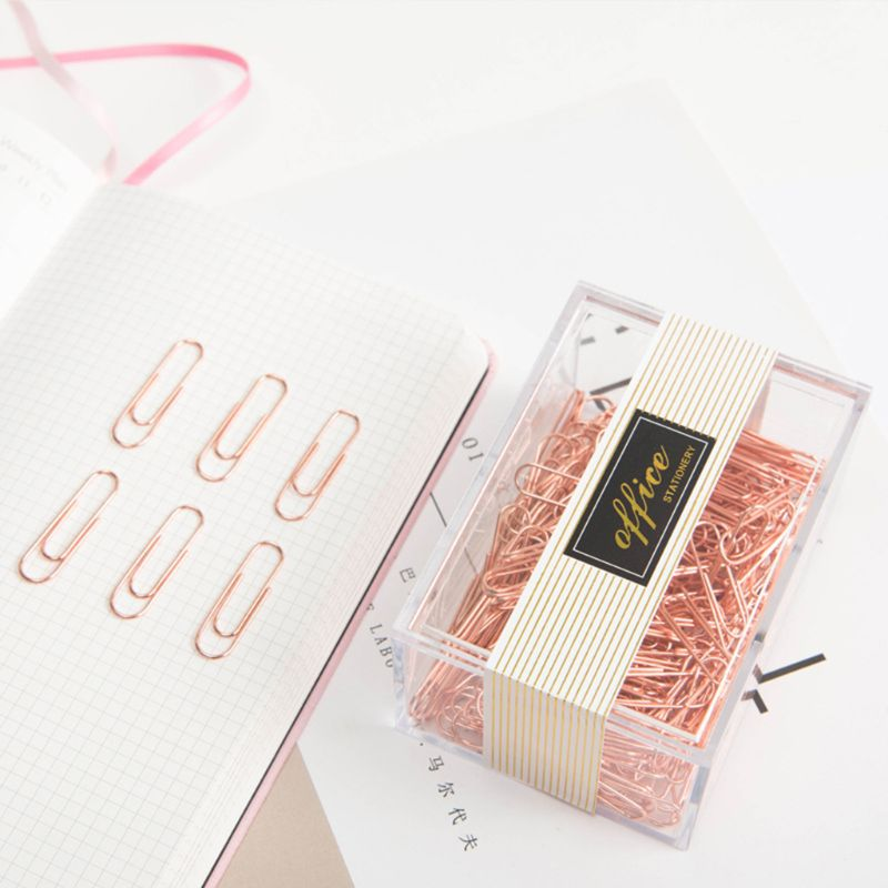 200pcs Rose Gold Small Mini Metal Paper Clips Bookmarks Photos Letter Binder Clip Stationery School Office Supplies C26