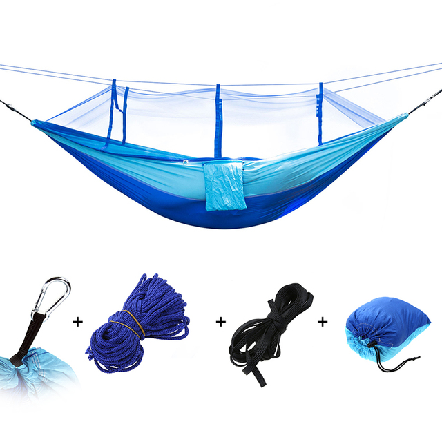 Portable Outdoor Hammock Hanging Bed Nylon Fabric Sleeping Bed + Mosquito Net Tactical Large Load Traveling Camping Hammock 2