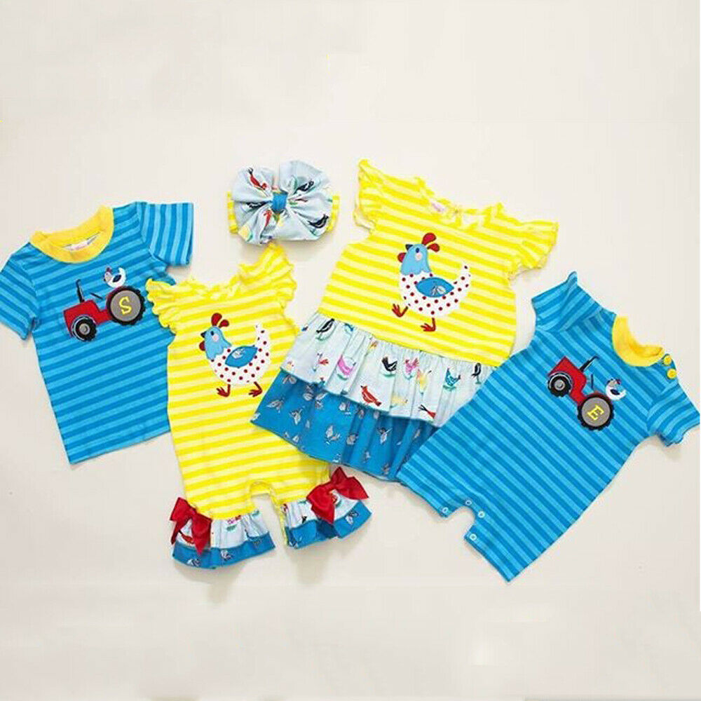 Toddler Baby Boy Girl Clothes Family Big/Little Sister Brothers Matching Striped Rompers T-Shirt Dress One-Piece Clothes