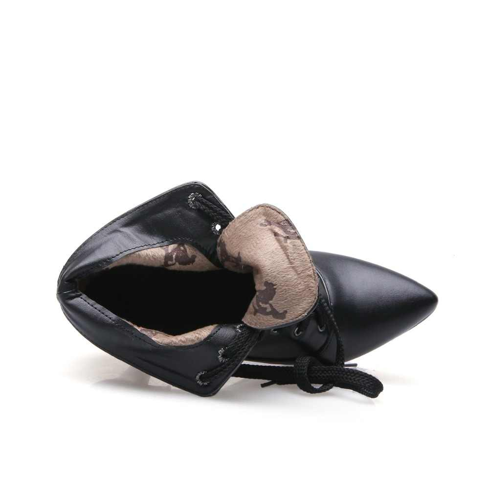 Yeni Moda Sonbahar Kış zarif Bayan Martin Çizmeler dantel-up Sivri burun Ince Yüksek Topuklu Çizmeler Siyah Ayak Bileği Mujer boyutu 32-48